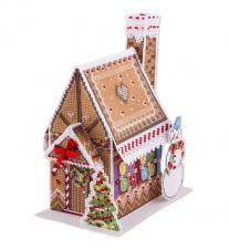 Новогодний домик. Размер - 14,5 х 9 см.