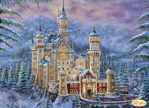 Замок Нойшванштайн зимой. Размер - 40 х 30 см.