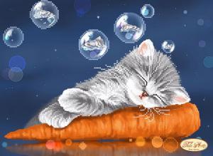 Котёнок и морковка. Размер - 32 х 24 см.