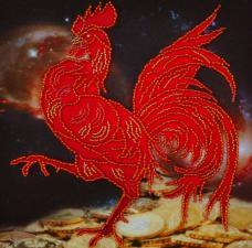 Картины бисером | Символ года Петуха. Размер - 17 х 17 см.