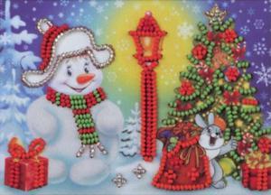Радуга бисера (Кроше) | Снеговик. Размер - 15 х 10 см