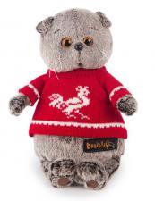 Басик в красном свитере с петушком.