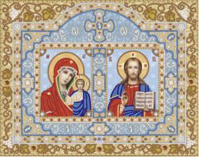 Иконостас.Богородица Казанская и Христос Спаситель.