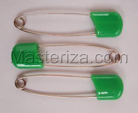 Булавки детские,цвет зелёный,длина 57-58 мм,уп.3 шт
