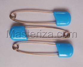 Булавки детские,цвет голубой,длина 57-58 мм,уп.3 шт