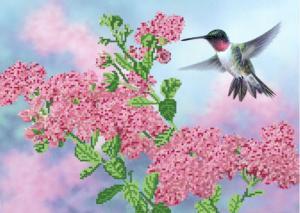 Колибри над цветком. Размер - 37 х 26 см.