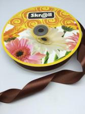 Лента атласная Skroll,25 мм,цвет№ 74 (коричневый)