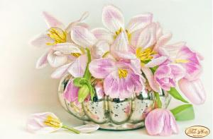 Бокэ.Жемчужные тюльпаны. Размер - 36 х 24 см.