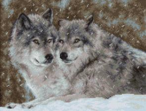 """Набор для вышивания крестом Luca-S """"Два волка"""". Размер - 27 х 20,5 см."""