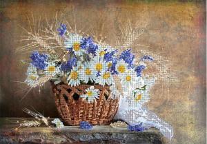 Астрея   Схема Корзина с цветами. Размер - 40 х 32 см