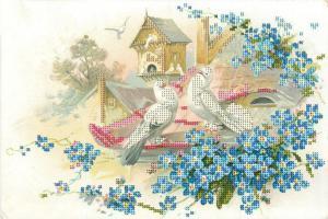 Астрея | Схема Влюблённые голуби. Размер - 30 х 20 см.