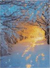 Чаривна мить | Картина стразами Зимний лес. Размер - 30,3 х 42 см