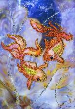 Чаривна мить | Картина стразами Золотые рыбки. Размер - 16,9 х 22,9 см
