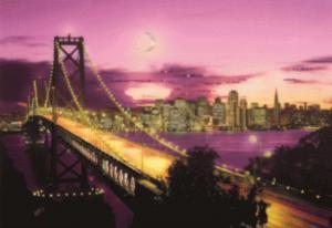 Чаривна мить | Картина стразами Мост Золотые Ворота. Размер - 42 х 30,3 см