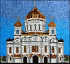 Храм Христа Спасителя. Размер - 28 х 26 см.