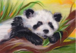 Беззаботная панда. Размер - 30 х 21 см.