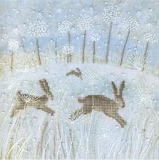 Зимние зайцы. Размер - 20 х 20 см.