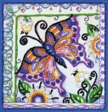 Бабочка в цветах. Размер - 15 х 15 см.