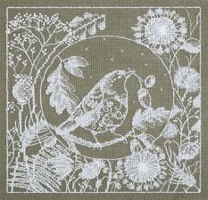 Панна | Белое кружево.Птица. Размер - 16 х 16,5 см
