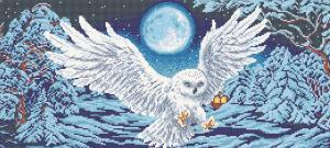 Арт Соло | Полярная сова (полная зашивка). Размер - 55 х 25 см.