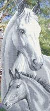 Арт Соло | Лошадь с жеребёнком. Размер - 25 х 55 см.