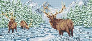 Арт Соло | Олени в зимнем лесу (полная зашивка). Размер - 55 х 25 см.