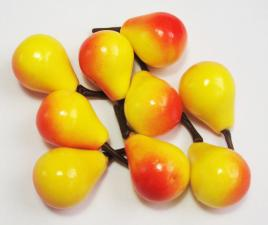 Груша жёлто-красная декоративная,23 мм,уп.20 шт.