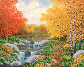 Осенняя река. Размер - 33 х 26 см.