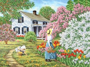 Весна в саду. Размер - 35 х 26 см.