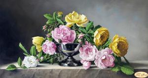 Розы и камень. Размер - 45 х 24 см.