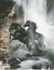 """Набор для вышивания крестом """"Кони на водопаде""""."""