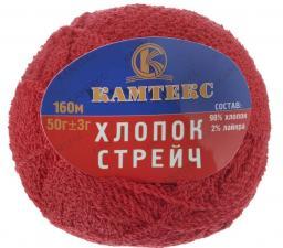 Пряжа Хлопок Стрейч. Цвет 046 (красный)