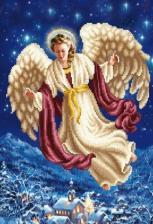"""Рисунок на ткани """"Ангел над городом""""."""