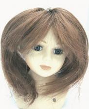 Волосы (парик) для кукол (прямые),цвет:каштановый,размер 16-19 см (шар 5-6 см)