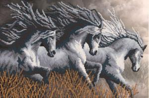 Неукротимые кони. Размер - 47 х 31 см.