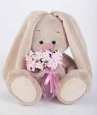 Зайка Ми с нежно-розовым букетиком (малыш), мягкая игрушка BudiBasa