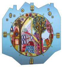"""Часы """"Красочный город"""". Размер - 27 х 29 см."""
