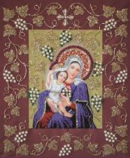 Изящное рукоделие | Богородица Покрывающая в рамке. Размер - 37 х 44,5 см