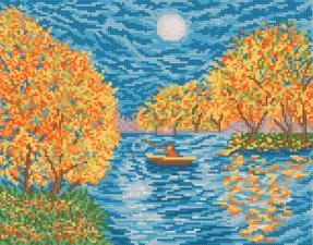 Осеннее озеро. Размер - 33 х 26 см.