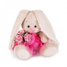 Зайка Ми в розовой юбочке и с букетом (Малыш). Размер - 15 см