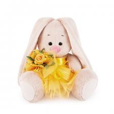 Зайка Ми в жёлтой юбочке и с букетом (Малыш). Размер - 15 см