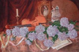 Мелодия для скрипки. Размер - 45,8 х 31 см.