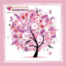 """Картина стразами (набор) """"Дерево в розовых цветах"""". Размер - 50 х 50 см."""