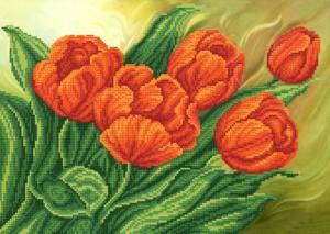Красные тюльпаны. Размер - 37 х 26 см.