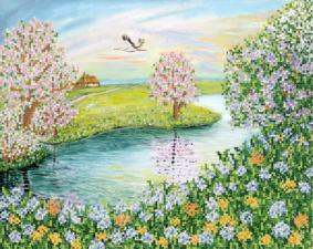 Цветущая весна. Размер - 33 х 26 см.