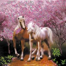 """Схема для вышивки бисером """"Влюблённые лошадки"""". Размер - 20 х 20 см."""