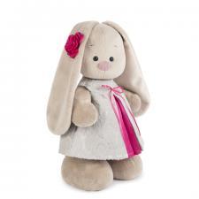 Зайка Ми в сером платье из жаккарда, мягкая игрушка BudiBasa