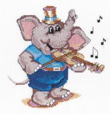 МП Студия | Слоник-скрипач. Размер - 20 х 20 см.
