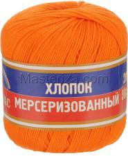 Пряжа Хлопок мерсеризованный. Цвет 068 (апельсин)