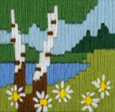 """Набор для вышивания длинным стежком """"Лесное озеро"""""""